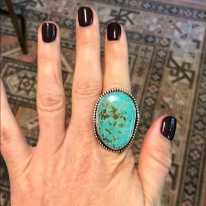 Jewelry - Custom sterling and turquoise ring size 6